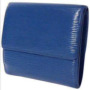 Louis Vuitton blue epi leather Elise snap wallet